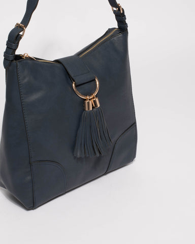 Navy Maggie Slouch Tote Bag