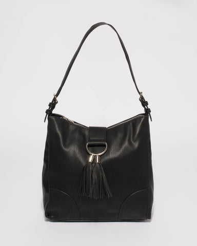 Black Maggie Slouch Tote Bag