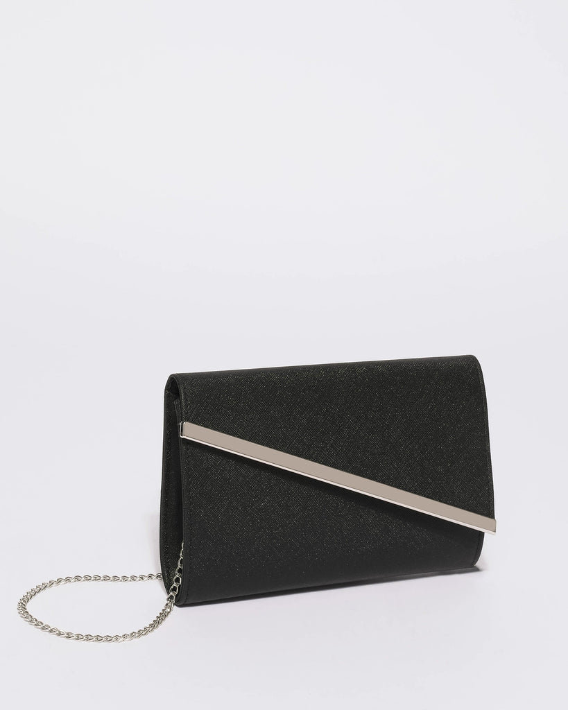 Black Mini Hannah Diagonal Clutch Bag With Silver Tone Hardware