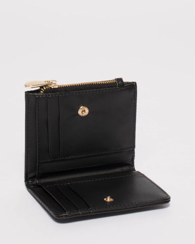 Black Quilted Saffiano Han Mini Wallet With Gold Hardware