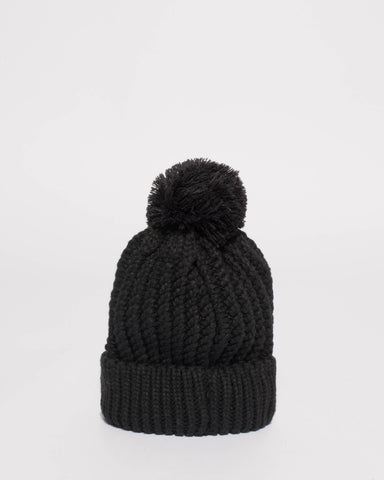 Black Knitted Pom Pom Beanie