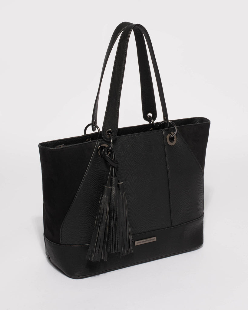 Black Maria Luxe Tote Bag With Gunmetal Hardware