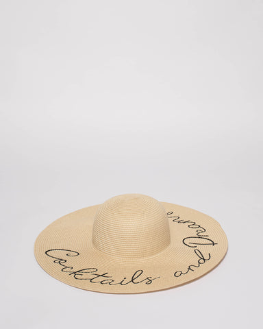 Natural Embroidered Floppy Sun Hat