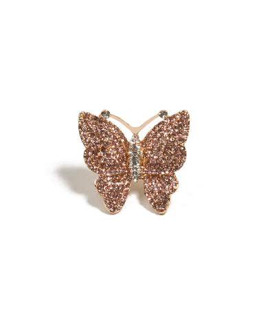 Pink Gold Tone Butterfly Diamante Ring - Medium