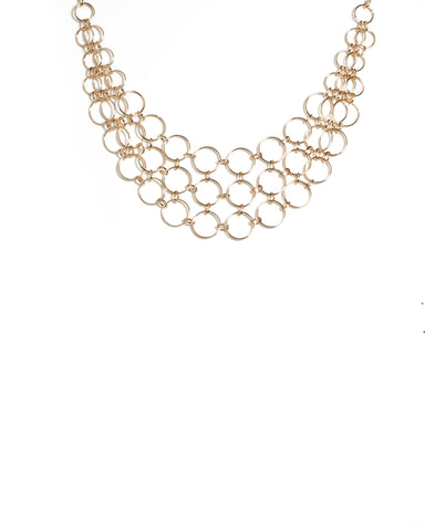 Gold Tone Metal Ring Link Necklace