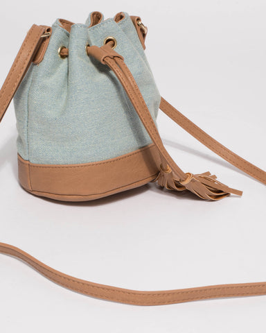 Blue Junior Tali Drawstring Mini Bucket Bag