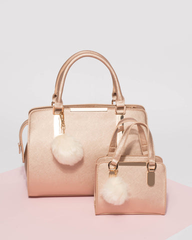 Rose Gold Jennifer Pom Pom Tote Bag