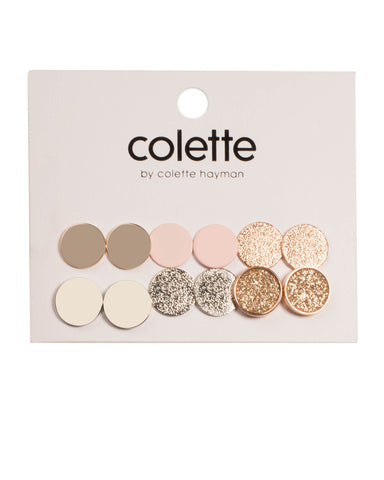 Multi Colour Disc Stud Earring Pack