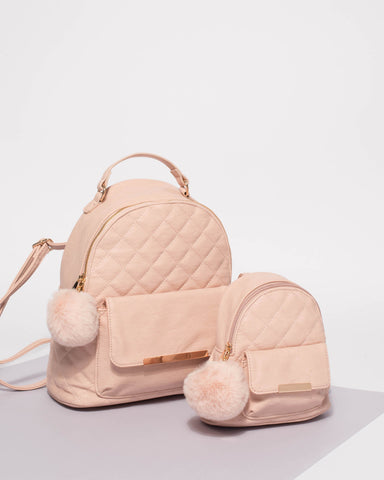 Pink Millie Medium Quilted Backpack