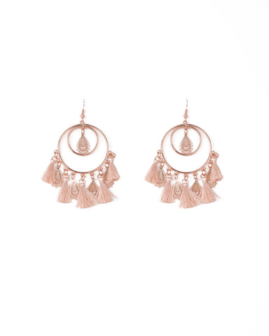 Pink Rose Gold Tone Filigree Circle Tassel Drop Earrings