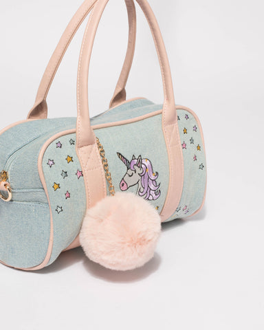 Blue Junior Unicorn Mini Weekender Bag