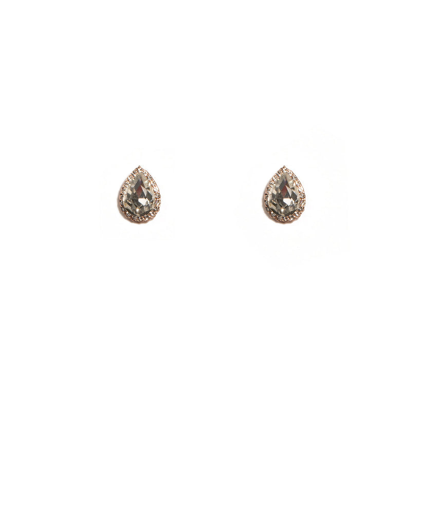 Crystal Rose Gold Tone Teardrop Halo Stud Earrings