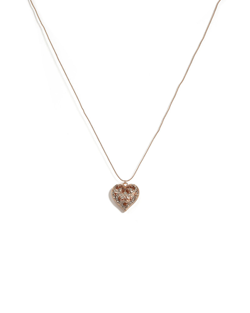 Crystal Rose Gold Tone Filigree Heart Pendant Necklace