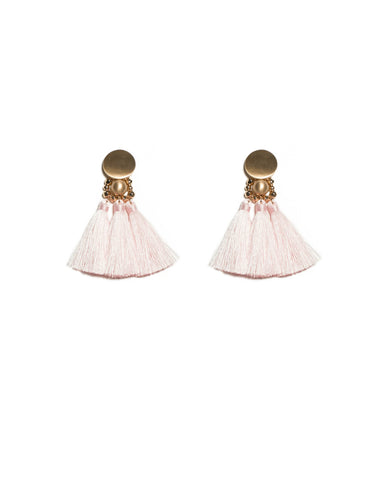 Pink Brushed Gold Triple Tassel Circle Stud Statement Earrings