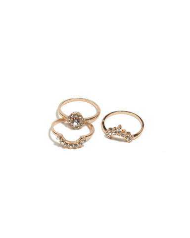 Crystal Gold Tone Round Diamante Crown Rings - Small