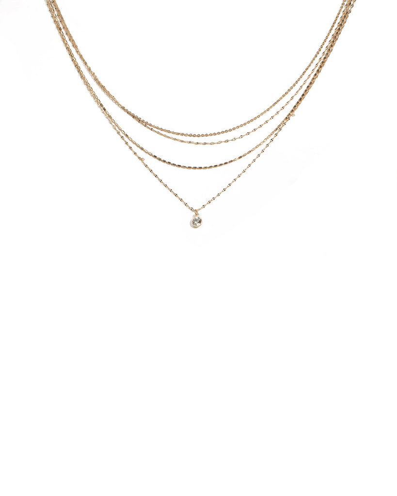 Crystal Gold Tone Multi Fine Row Diamante Necklace