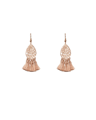 Pink Rose Gold Tone Filigree Mini Tassel Earrings