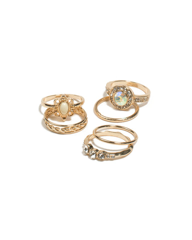 Ivory Gold Tone Round Diamante Crown Rings - Large