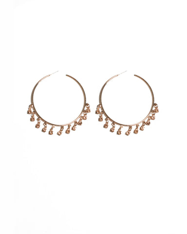 Rose Gold Tone Round Diamante Charms On Hoop Earrings