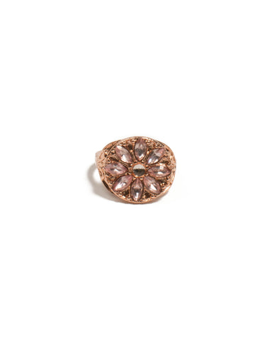 Pink Rose Gold Tone Navette Stone Flower Ring - Small