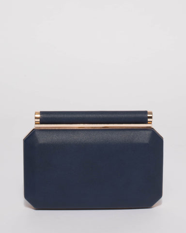 Alyssa Navy Hardcase Clutch Bag