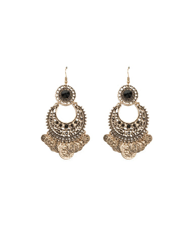Black Antique Gold Tone Filigree Cut Out Coin Earrings