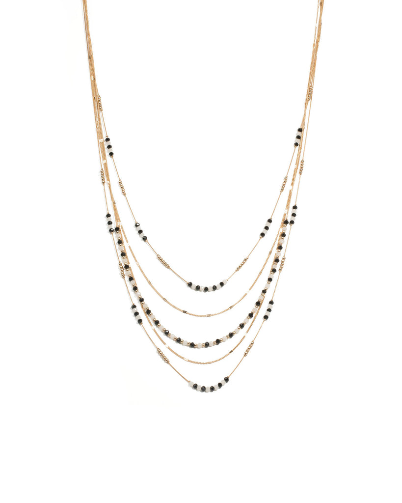 Black Gold Tone Fine Multi Row Beaded Necklace