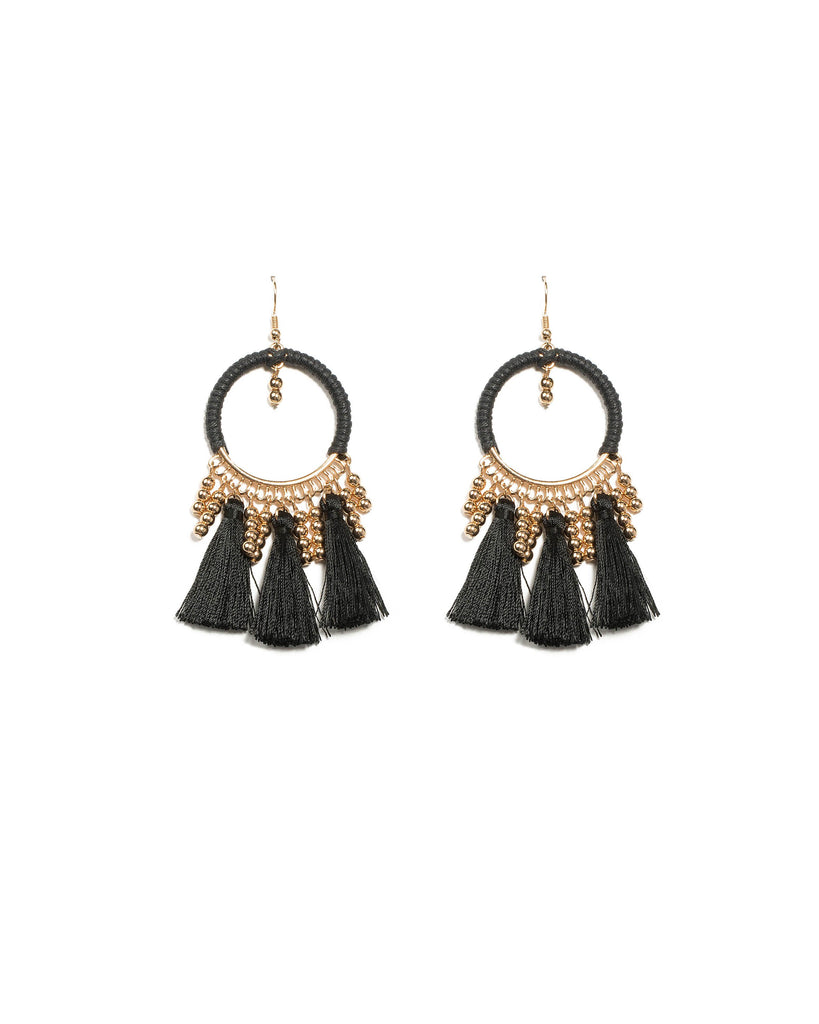 Black Gold Tone Third Loop Tassel Earrings