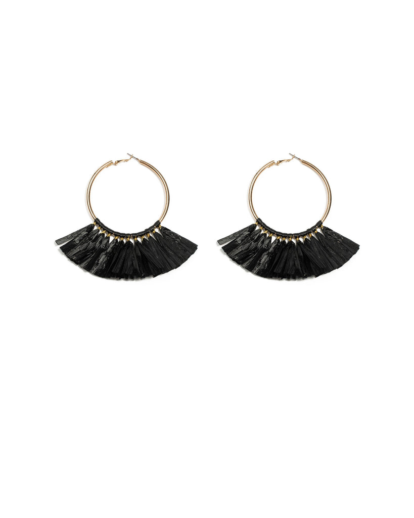 Black Gold Tone Wide Tassel Hoop Earrings