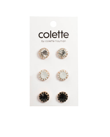 Crystal Gold Tone Multi Cry Surrounded Stud Earrings