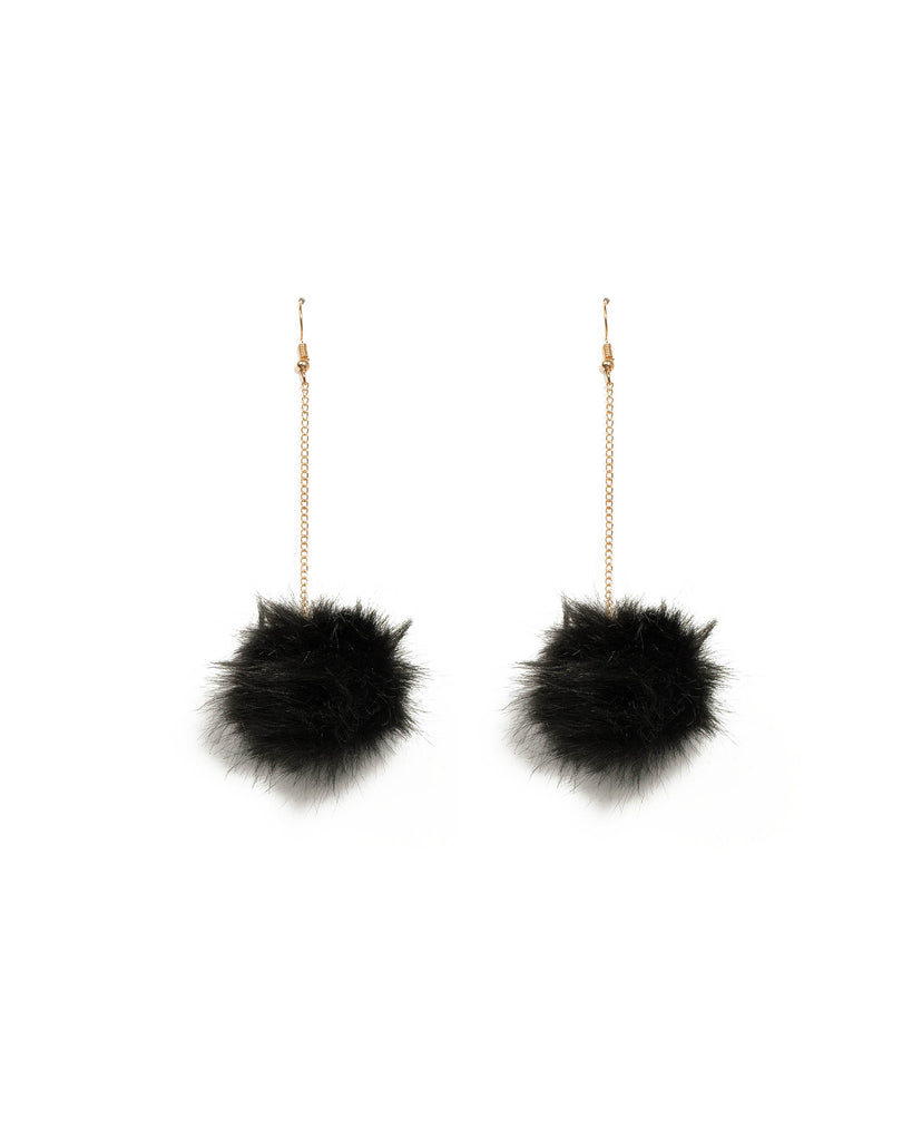 Black Gold Tone Pom Pom Chain Earrings