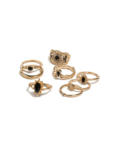 Black Gold Tone Mixed Stone Filigree Rings - Large