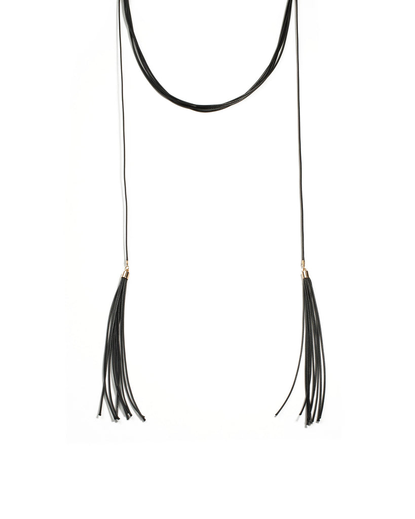 Black Gold Tone Cord Lariat Choker Necklace