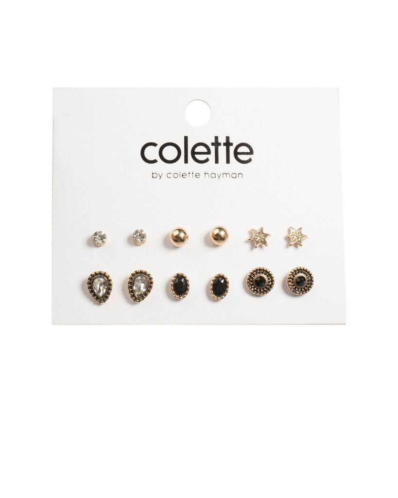 Black Antique Gold Tone Diamante Star Stud Earring Pack
