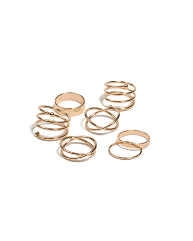 Gold  Tone Mixed Shape Metal Rings - Large