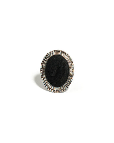 Black Silver Tone Oval Stone Cocktail Ring - Small