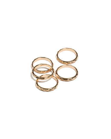 Gold  Tone Hammered Rings - Large