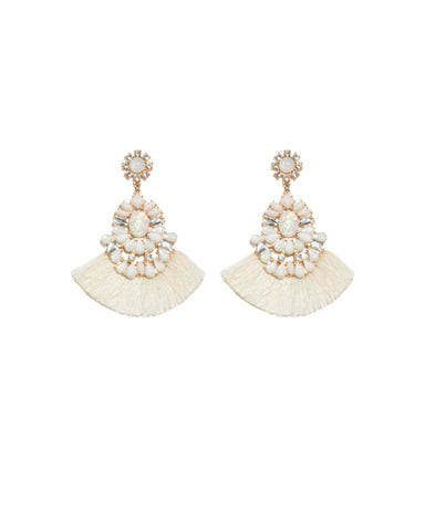 White Gold Tone Multi Deco Tassel Earrings
