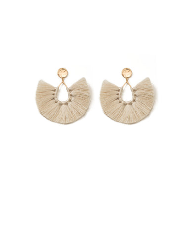 Ivory Gold Tone Tassel Fan Statement Earrings