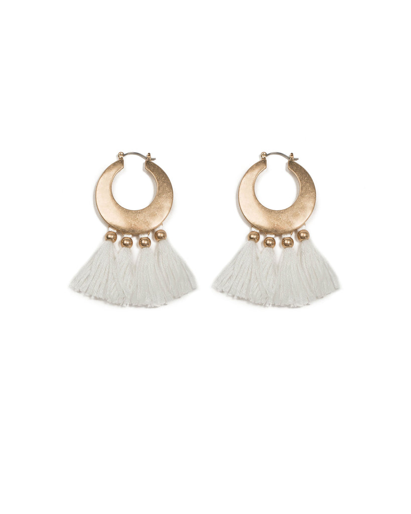 Ivory Gold Tone Cotton Tassel Hoop Earrings