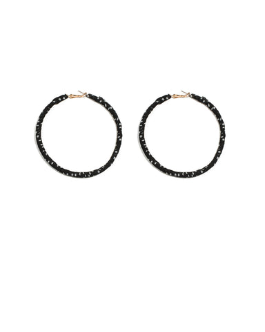 Monochrome Gold Tone Fabric Wrap Hoop Earrings