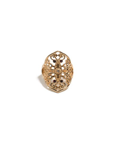 Red Gold Tone Filigree Mini Stone Ring - Small