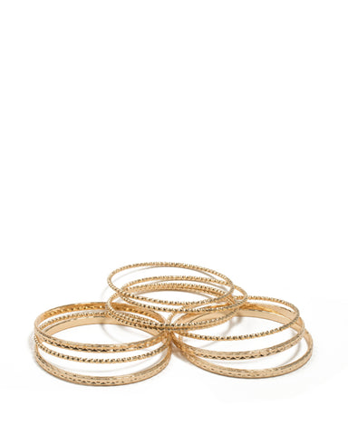 Gold Tone Textured Metal Bangles Pack