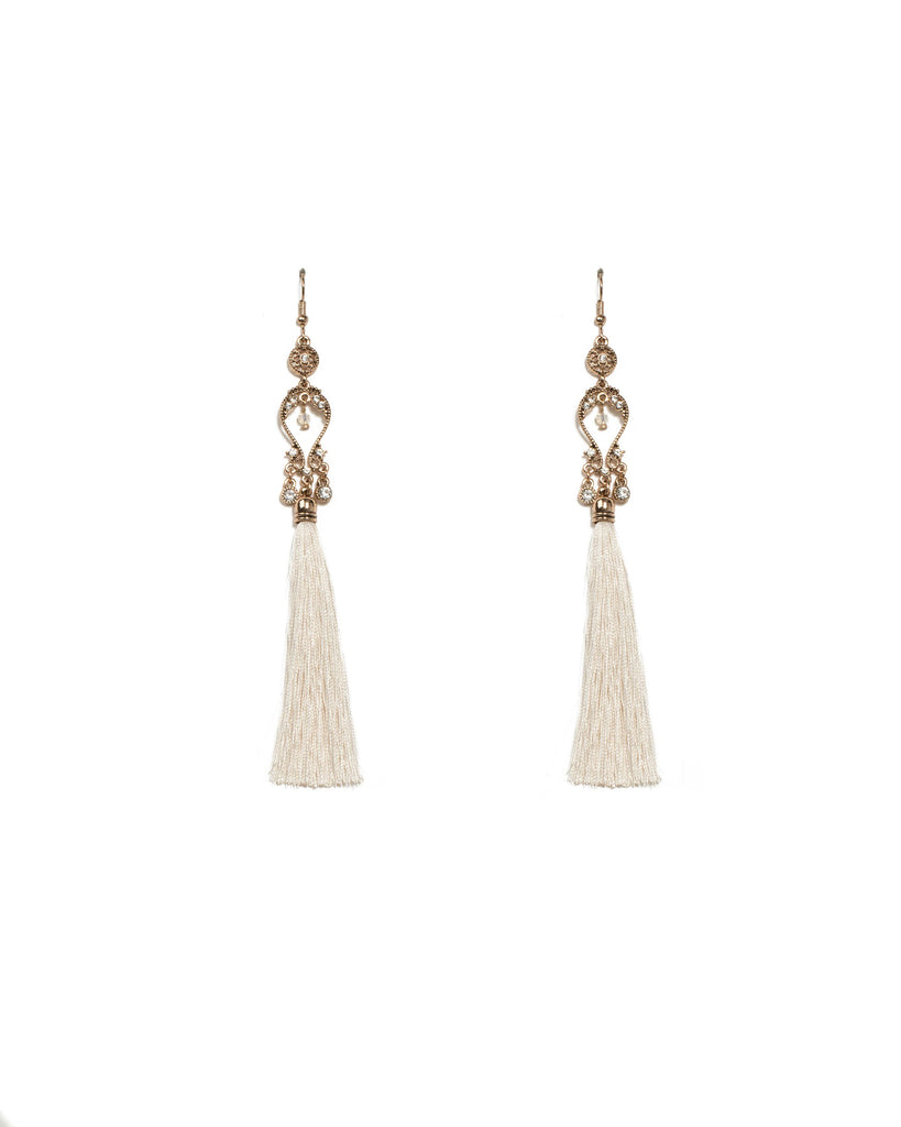 Ivory Antique Gold Tone Filigree Stone Long Tassel Earrings