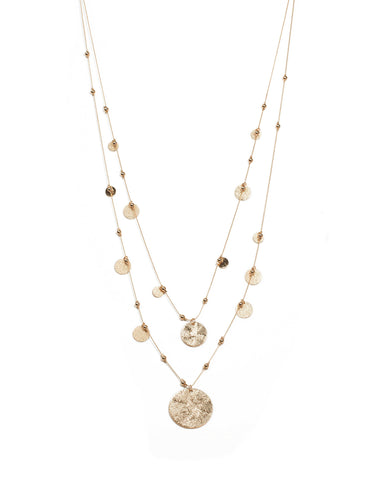 Gold Tone Textured Disc Long Necklace