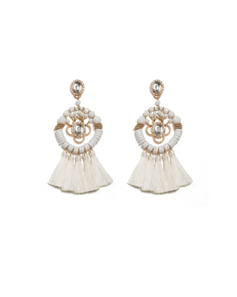 White Gold Tone Oval Stone Beaded Tassel Statement Earrings