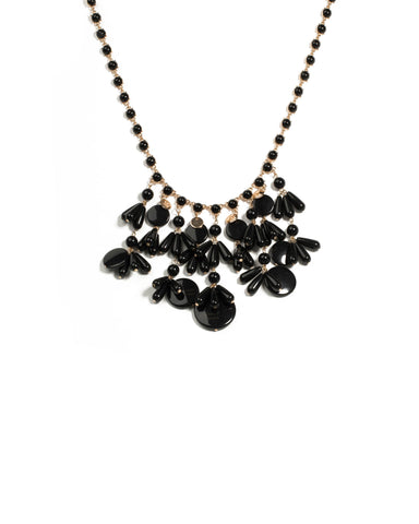 Black Gold Tone Acrylic Mixed Bead Statement Necklace