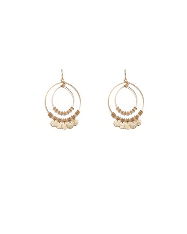 Gold Tone Textured Disc Charm Fine Circle Earrings