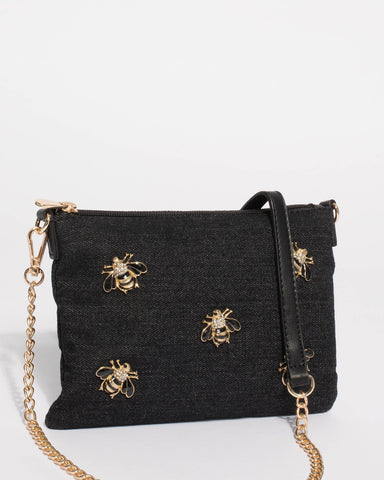Black Denim Pin Peta Crossbody Bag