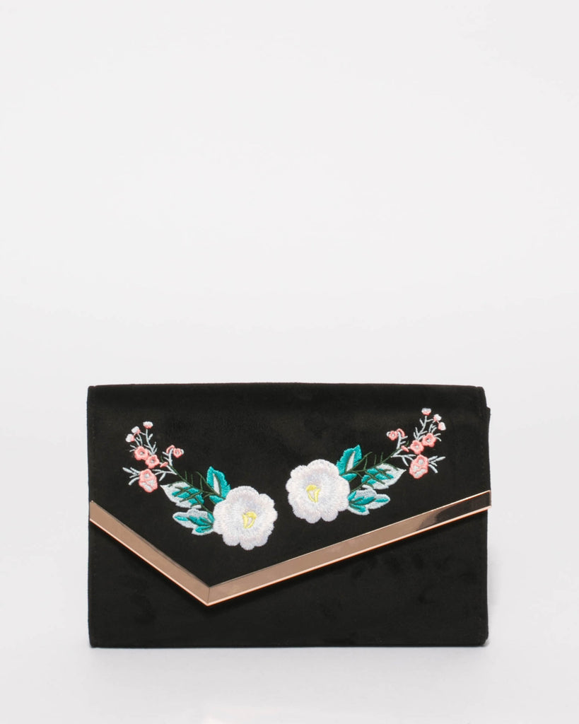Black Sienna Embroidery Clutch Bag